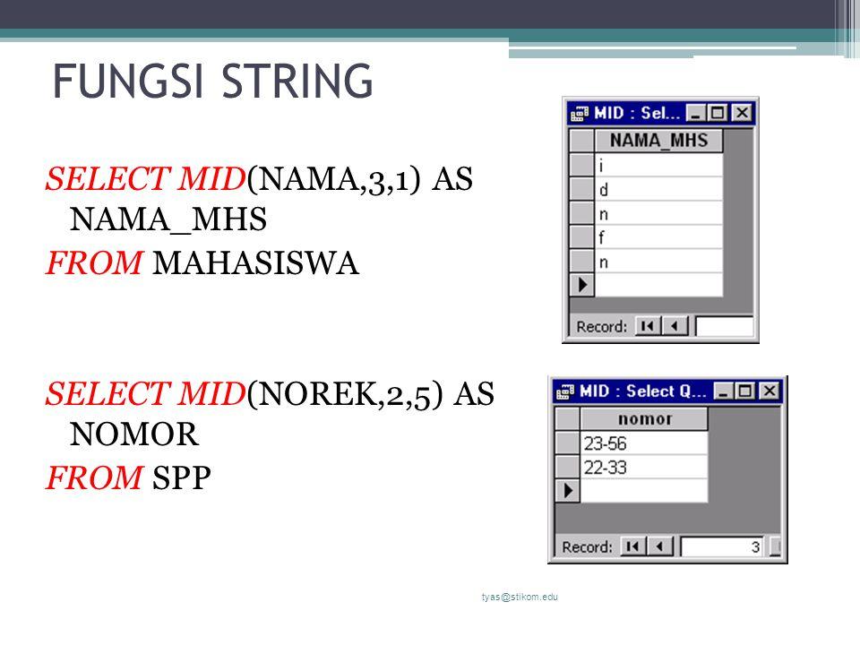 FUNGSI STRING SELECT MID(NAMA,3,1) AS NAMA_MHS FROM MAHASISWA