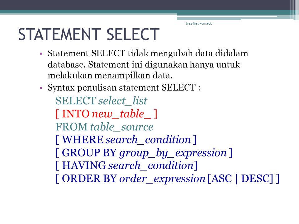 STATEMENT SELECT tyas@stikom.edu.