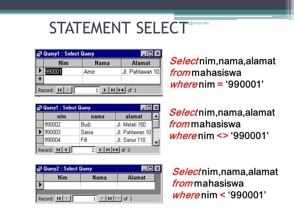 STATEMENT SELECT tyas@stikom.edu. Select nim,nama,alamat from mahasiswa where nim = '990001'