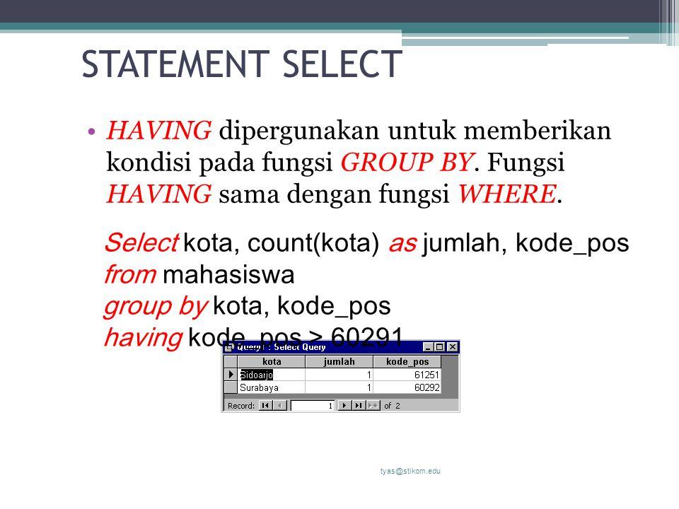 STATEMENT SELECT HAVING dipergunakan untuk memberikan kondisi pada fungsi GROUP BY. Fungsi HAVING sama dengan fungsi WHERE.