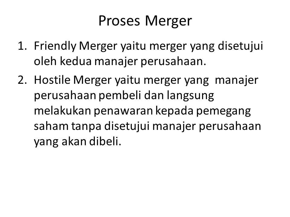 Proses Merger Friendly Merger yaitu merger yang disetujui oleh kedua manajer perusahaan.
