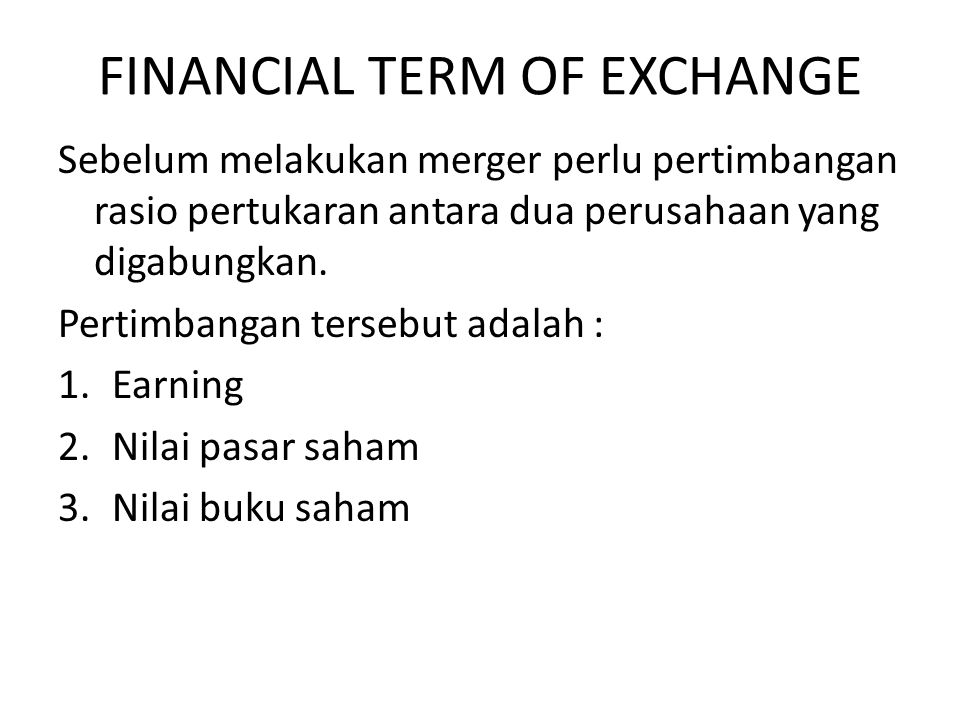 FINANCIAL TERM OF EXCHANGE