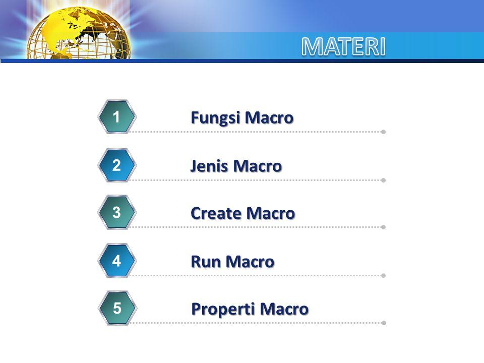 MATERI Fungsi Macro Jenis Macro Create Macro Run Macro Properti Macro