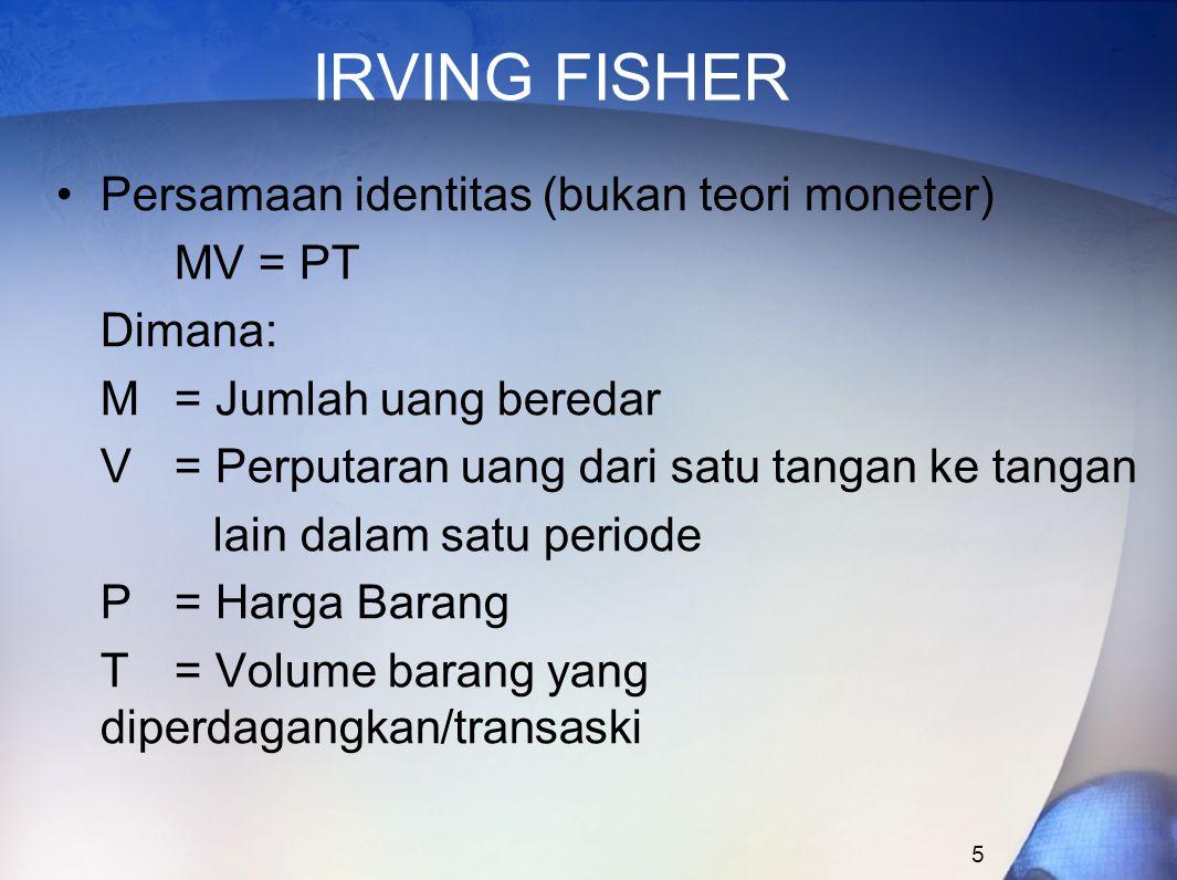 IRVING FISHER Persamaan identitas (bukan teori moneter) MV = PT