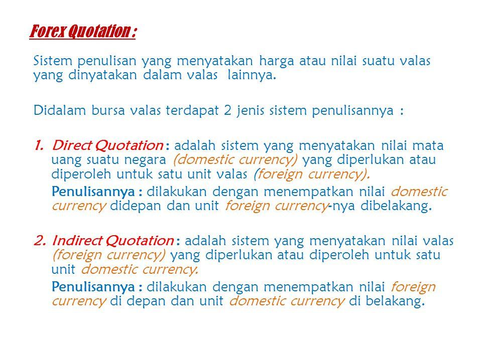Forex Quotation : Sistem penulisan yang menyatakan harga atau nilai suatu valas yang dinyatakan dalam valas lainnya.