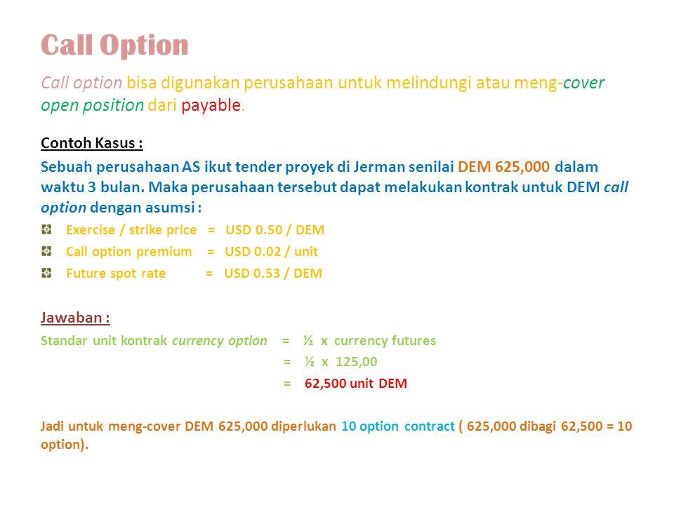 Call Option Call option bisa digunakan perusahaan untuk melindungi atau meng-cover open position dari payable.