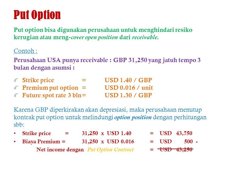 Put Option Put option bisa digunakan perusahaan untuk menghindari resiko kerugian atau meng-cover open position dari receivable.