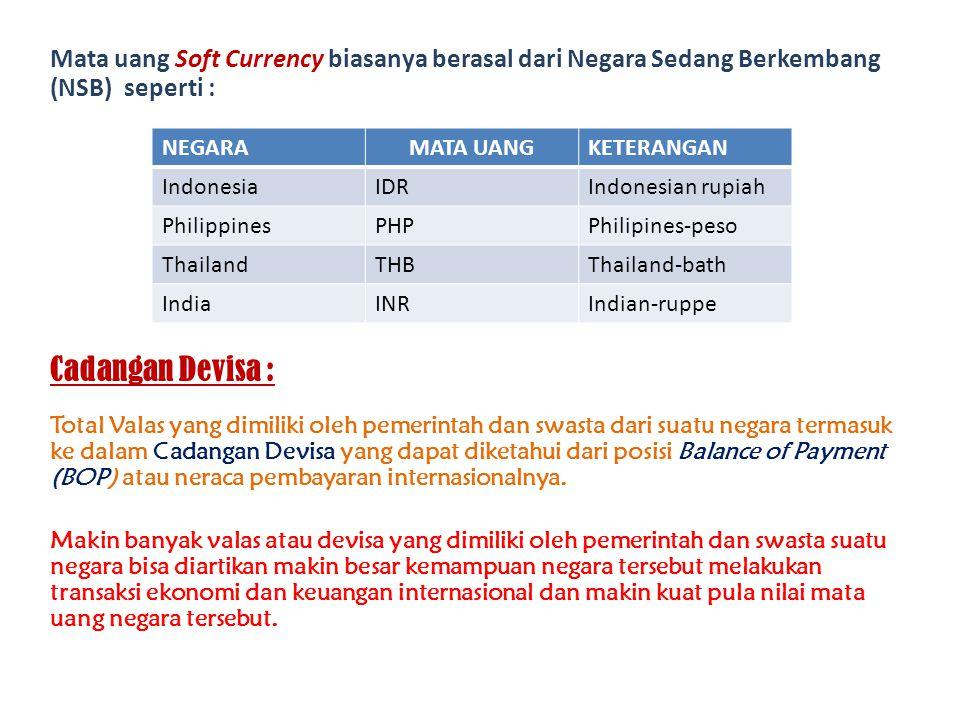 Mata uang Soft Currency biasanya berasal dari Negara Sedang Berkembang (NSB) seperti :