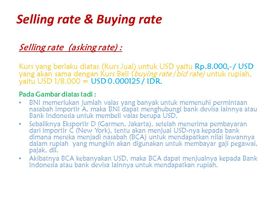 Selling rate & Buying rate