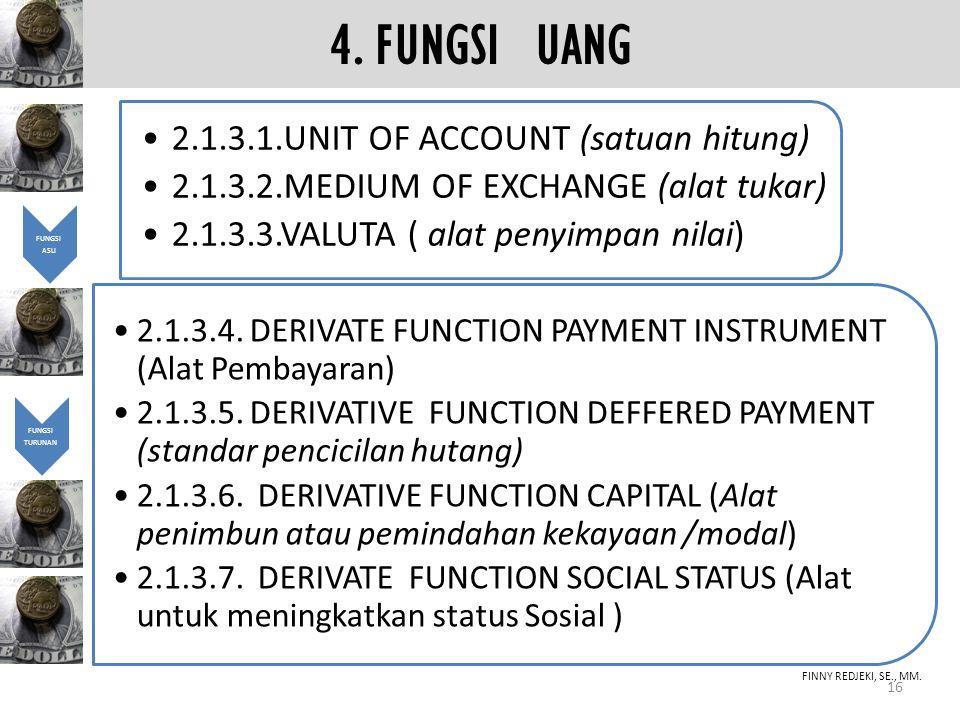 4. FUNGSI UANG 2.1.3.1.UNIT OF ACCOUNT (satuan hitung)