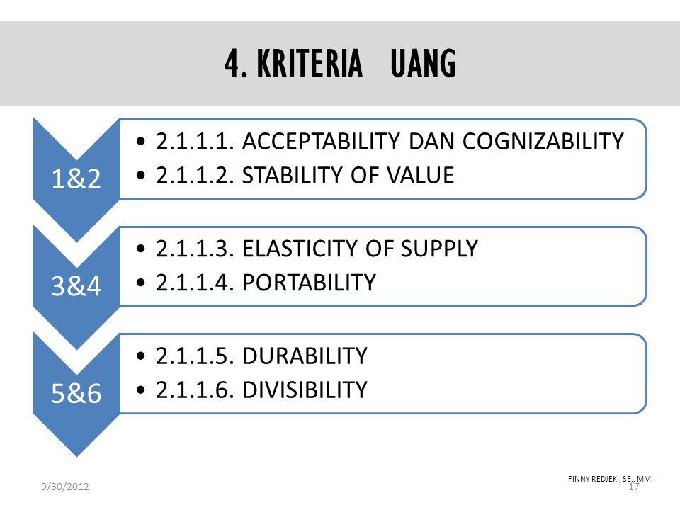 4. KRITERIA UANG 9/30/2012 FINNY REDJEKI, SE., MM. 1&2