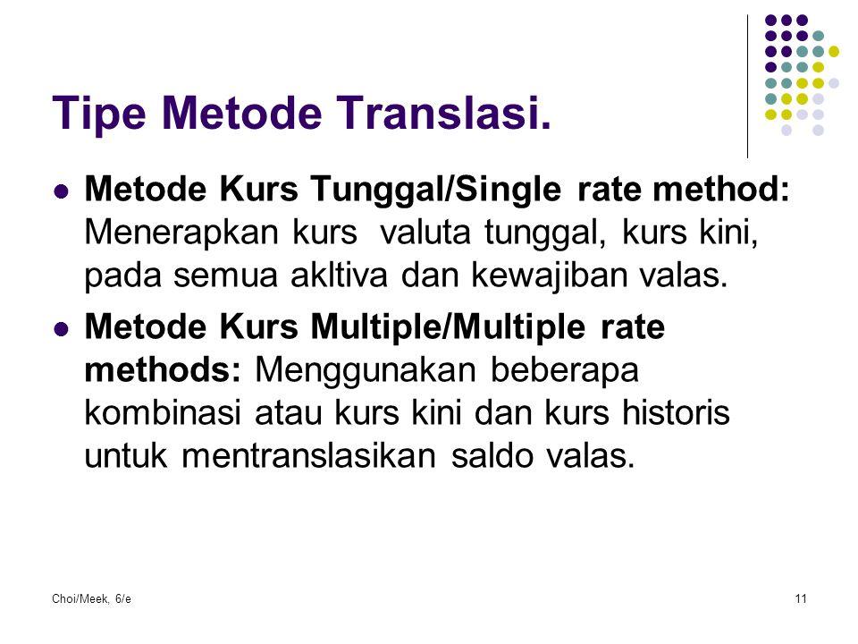 Tipe Metode Translasi. Metode Kurs Tunggal/Single rate method: Menerapkan kurs valuta tunggal, kurs kini, pada semua akltiva dan kewajiban valas.