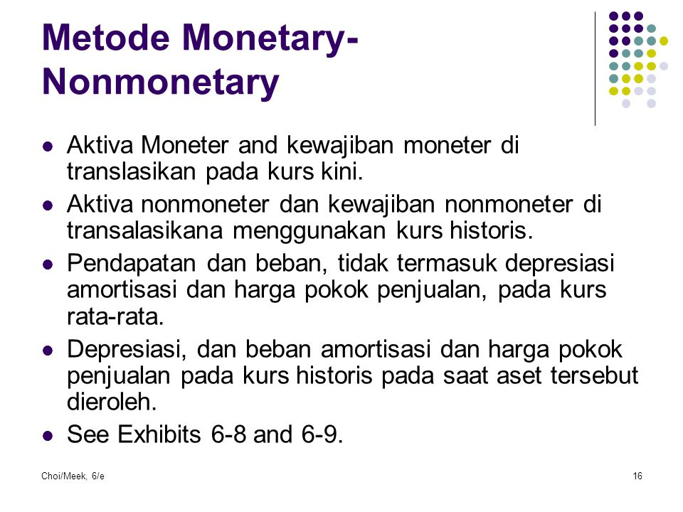 Metode Monetary-Nonmonetary