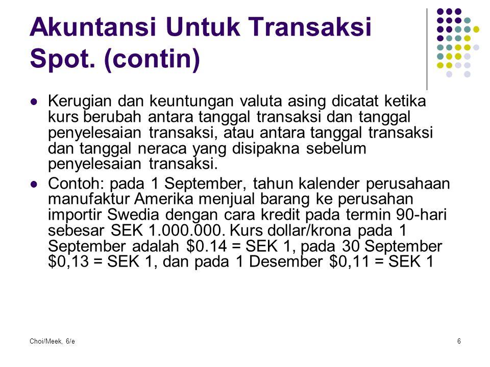 Akuntansi Untuk Transaksi Spot. (contin)