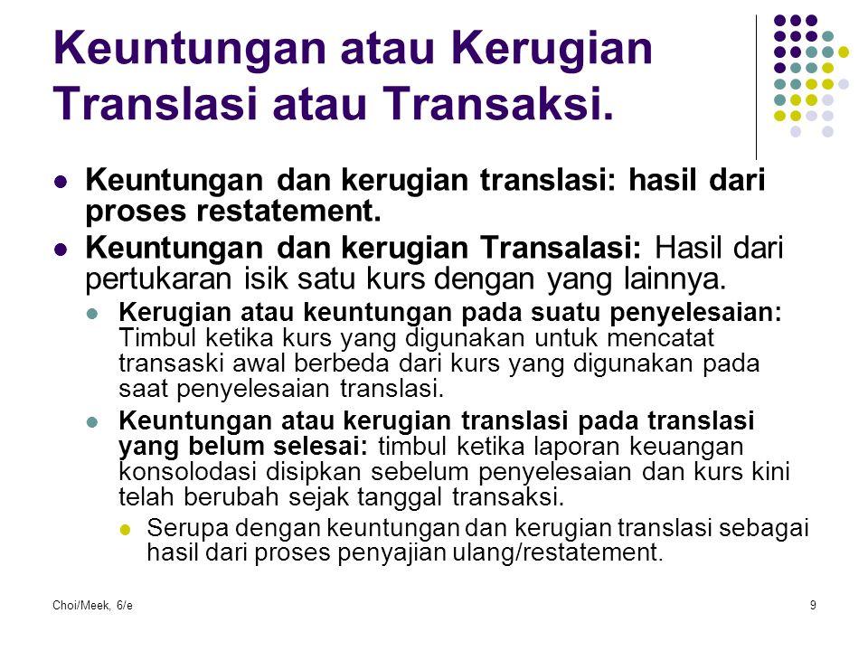 Keuntungan atau Kerugian Translasi atau Transaksi.