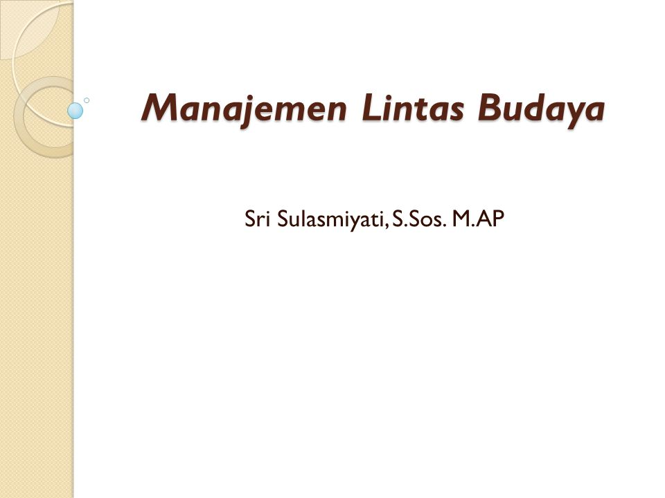 Manajemen Lintas Budaya