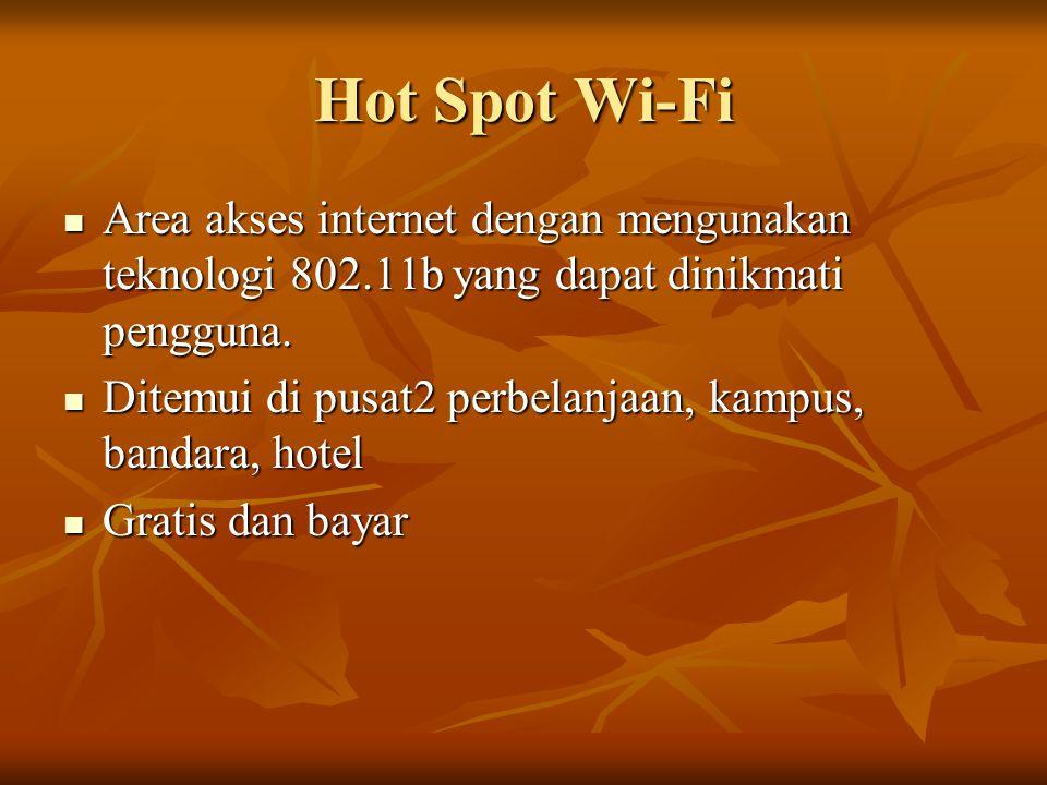 Hot Spot Wi-Fi Area akses internet dengan mengunakan teknologi 802.11b yang dapat dinikmati pengguna.