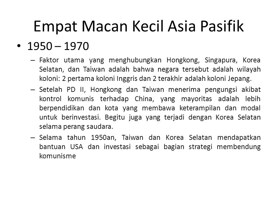 Empat Macan Kecil Asia Pasifik