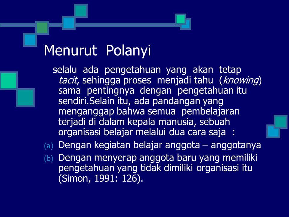 Menurut Polanyi
