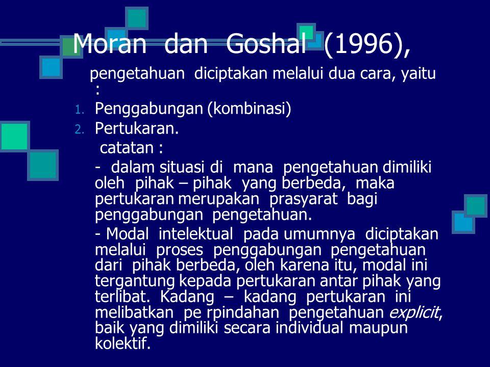 Moran dan Goshal (1996), pengetahuan diciptakan melalui dua cara, yaitu : Penggabungan (kombinasi)