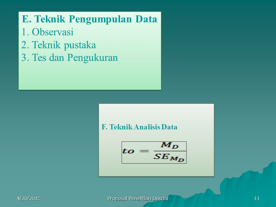 E. Teknik Pengumpulan Data