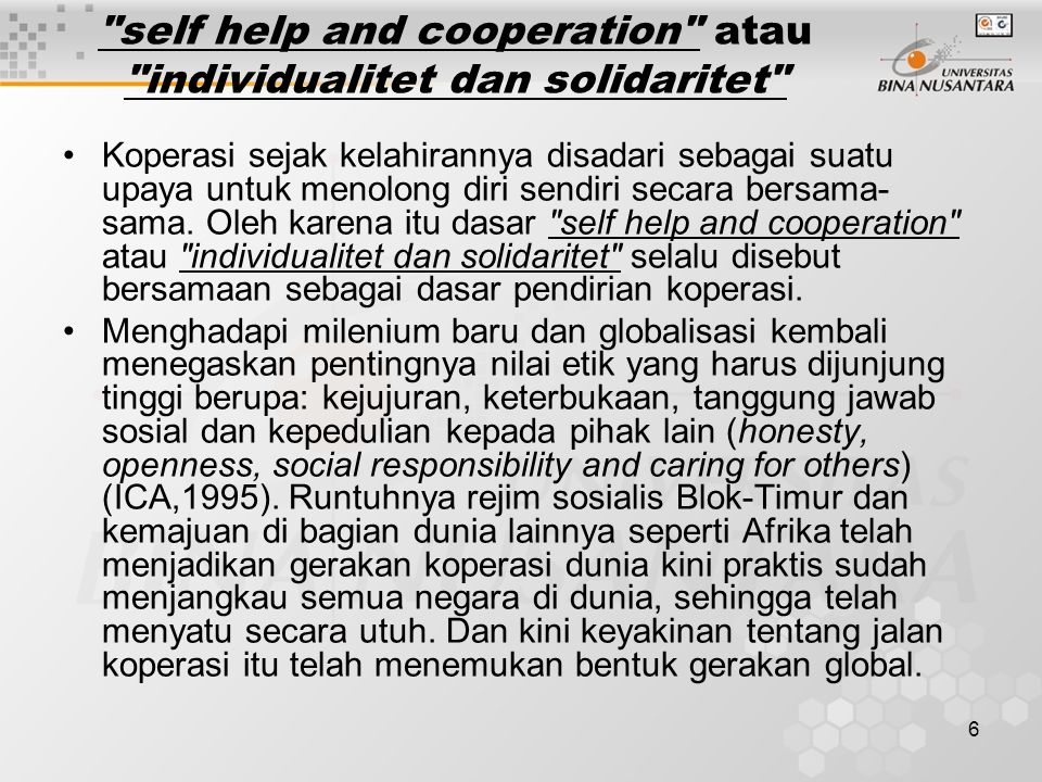 self help and cooperation atau individualitet dan solidaritet