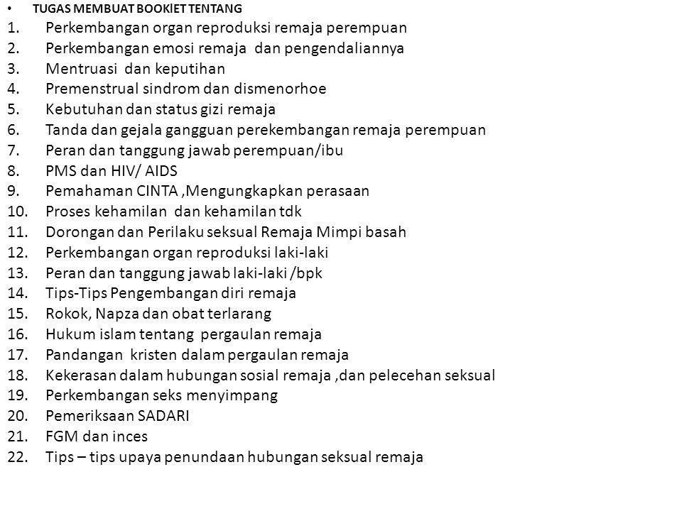 Perkembangan organ reproduksi remaja perempuan