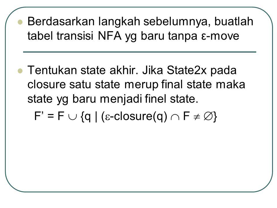 Berdasarkan langkah sebelumnya, buatlah tabel transisi NFA yg baru tanpa ε-move