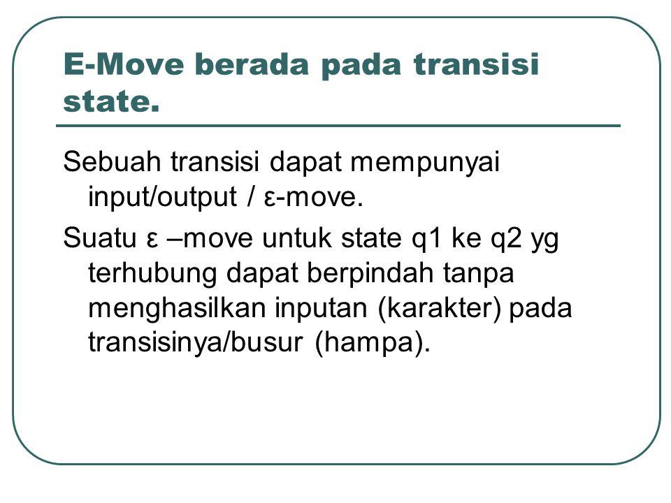 Ε-Move berada pada transisi state.