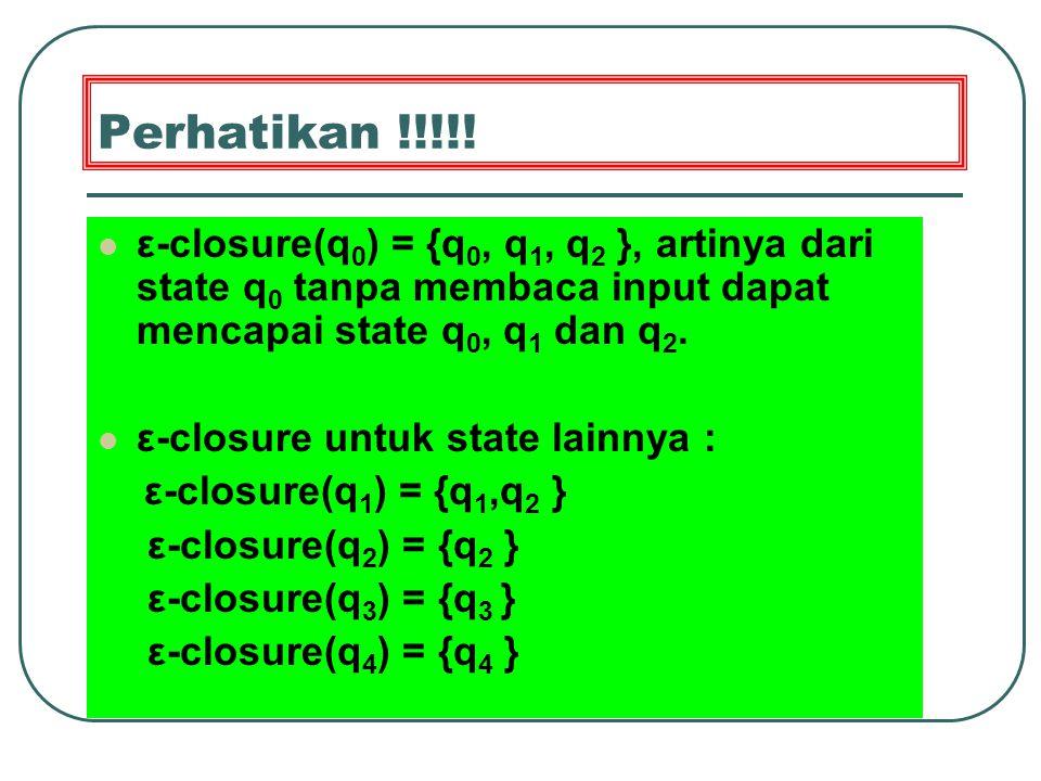 Perhatikan !!!!! ε-closure(q0) = {q0, q1, q2 }, artinya dari state q0 tanpa membaca input dapat mencapai state q0, q1 dan q2.