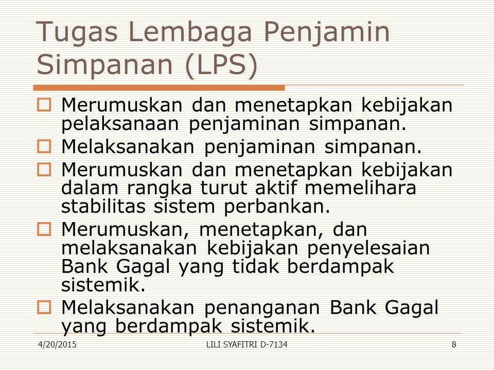 Tugas Lembaga Penjamin Simpanan (LPS)