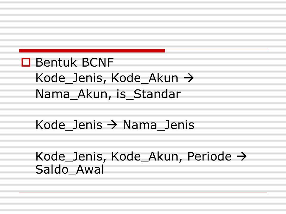 Bentuk BCNF Kode_Jenis, Kode_Akun  Nama_Akun, is_Standar.