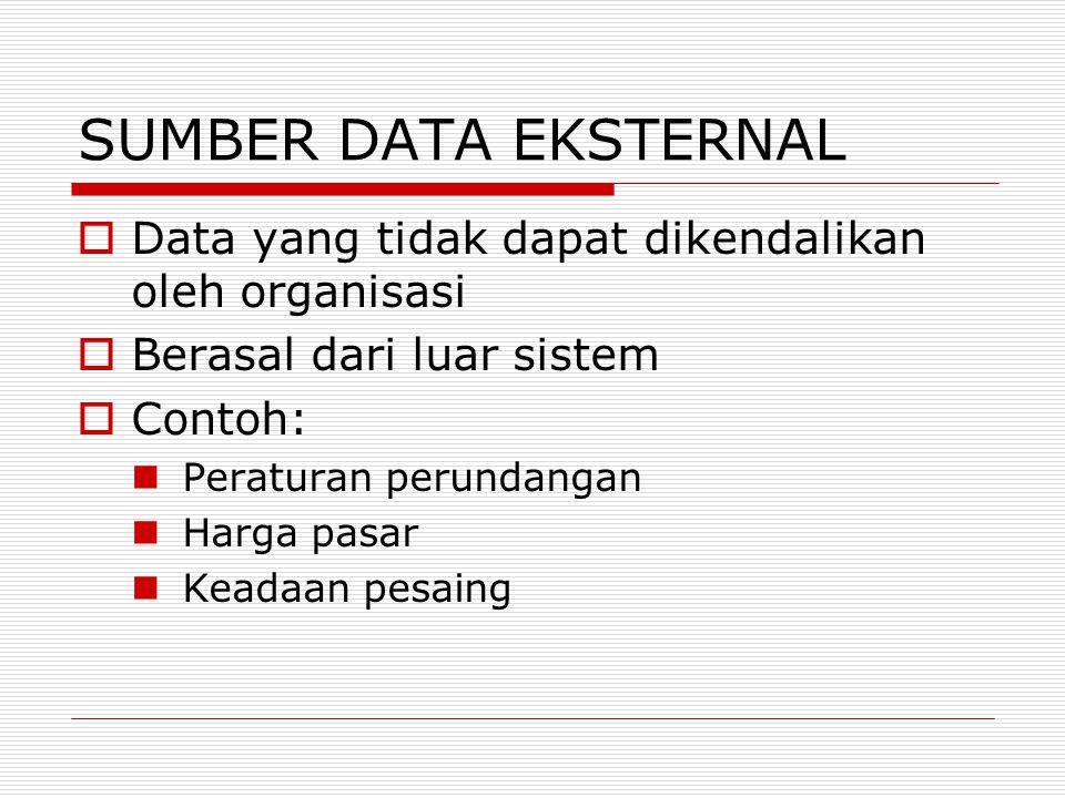 SUMBER DATA EKSTERNAL Data yang tidak dapat dikendalikan oleh organisasi. Berasal dari luar sistem.