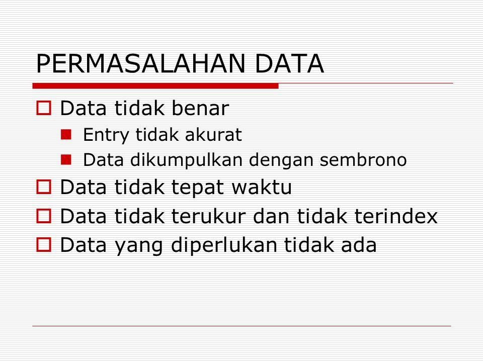 PERMASALAHAN DATA Data tidak benar Data tidak tepat waktu
