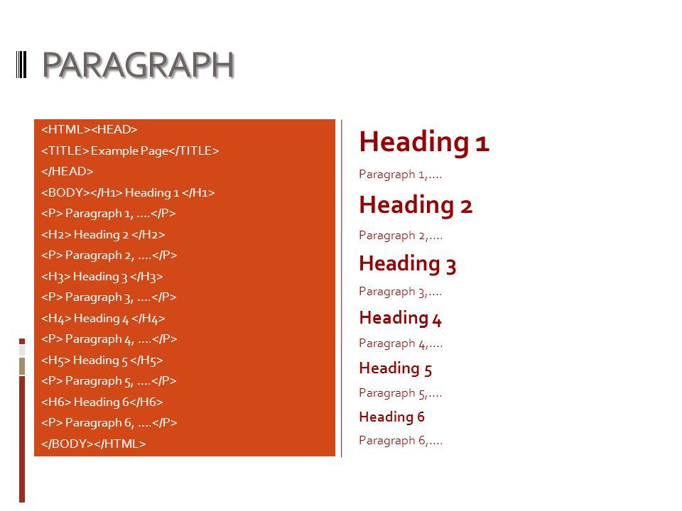 PARAGRAPH Heading 1 Heading 2 Heading 3 Heading 4 Heading 5 Heading 6