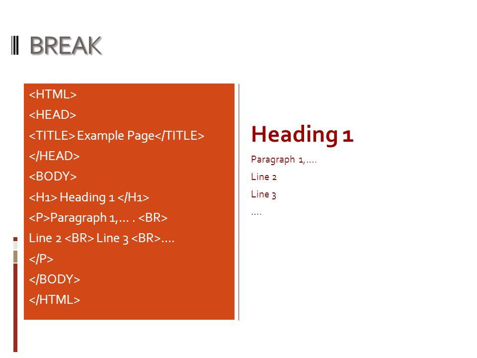 BREAK Heading 1 <HTML> <HEAD>