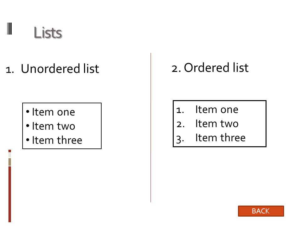 Lists Unordered list 2. Ordered list Item one Item one Item two
