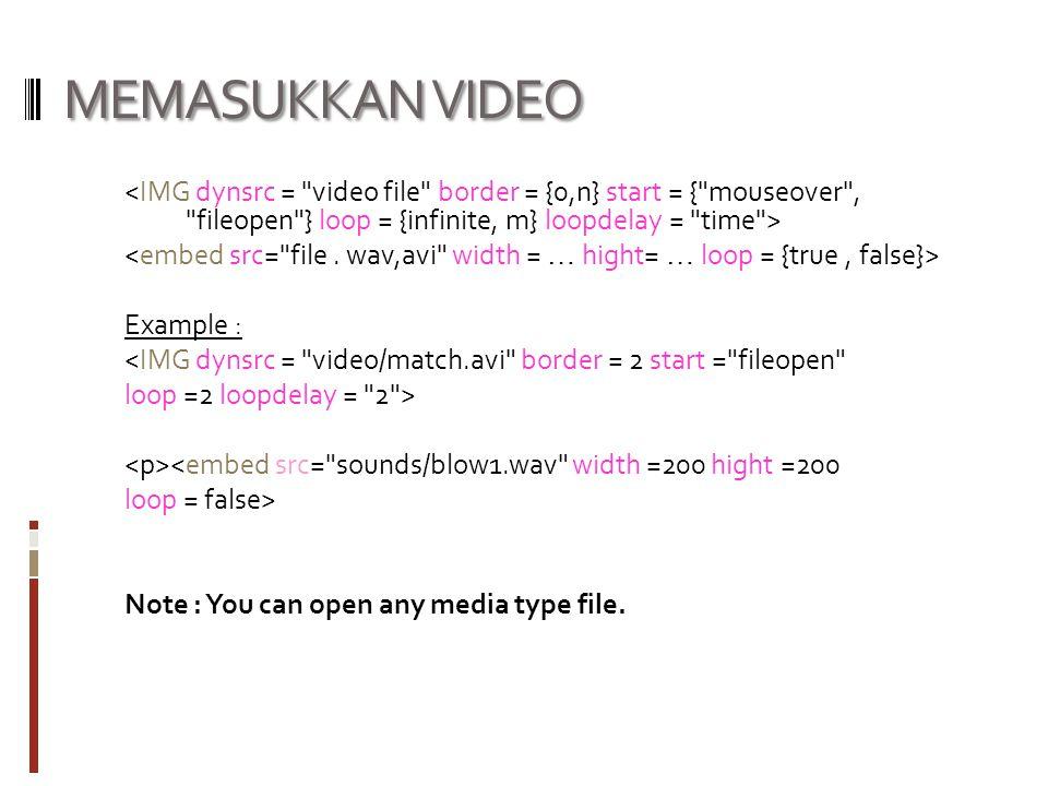 MEMASUKKAN VIDEO