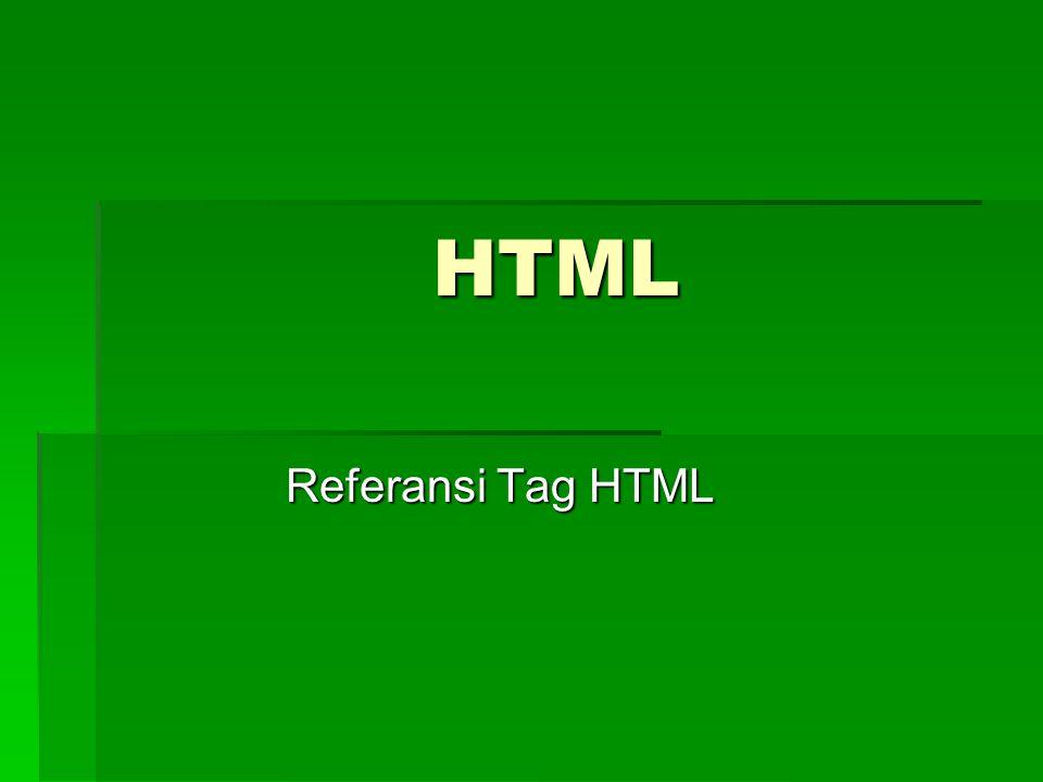 HTML Referansi Tag HTML