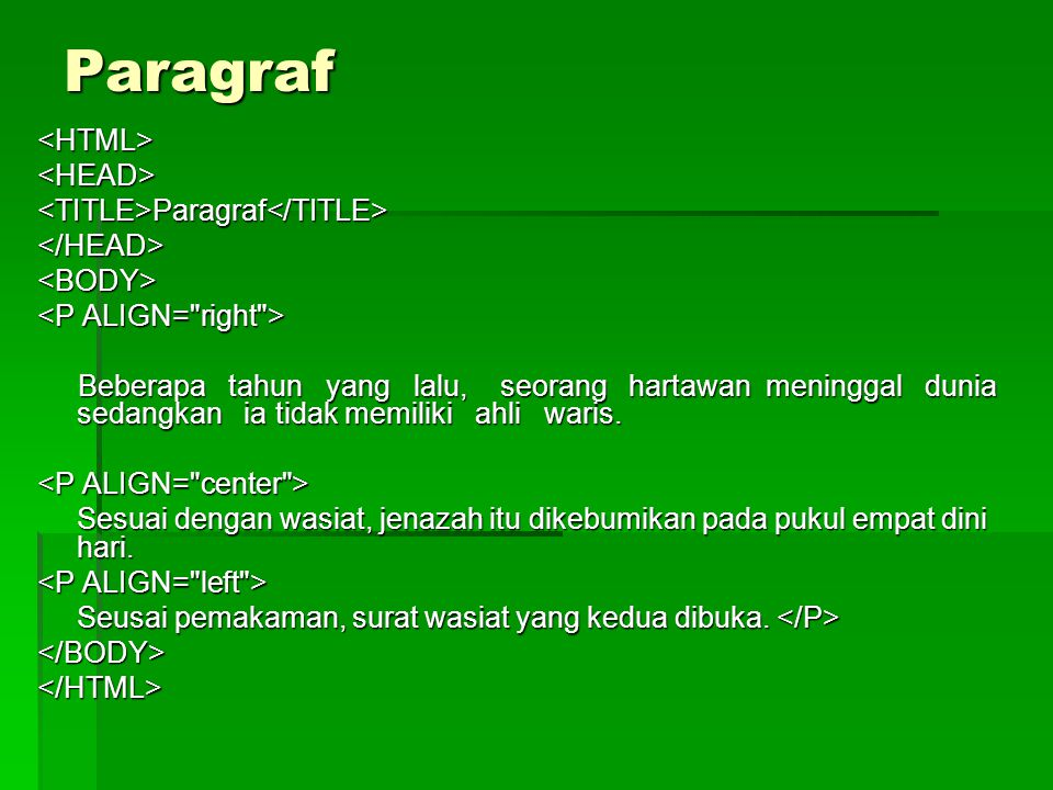 Paragraf <HTML> <HEAD> <TITLE>Paragraf</TITLE>