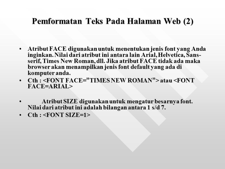 Pemformatan Teks Pada Halaman Web (2)