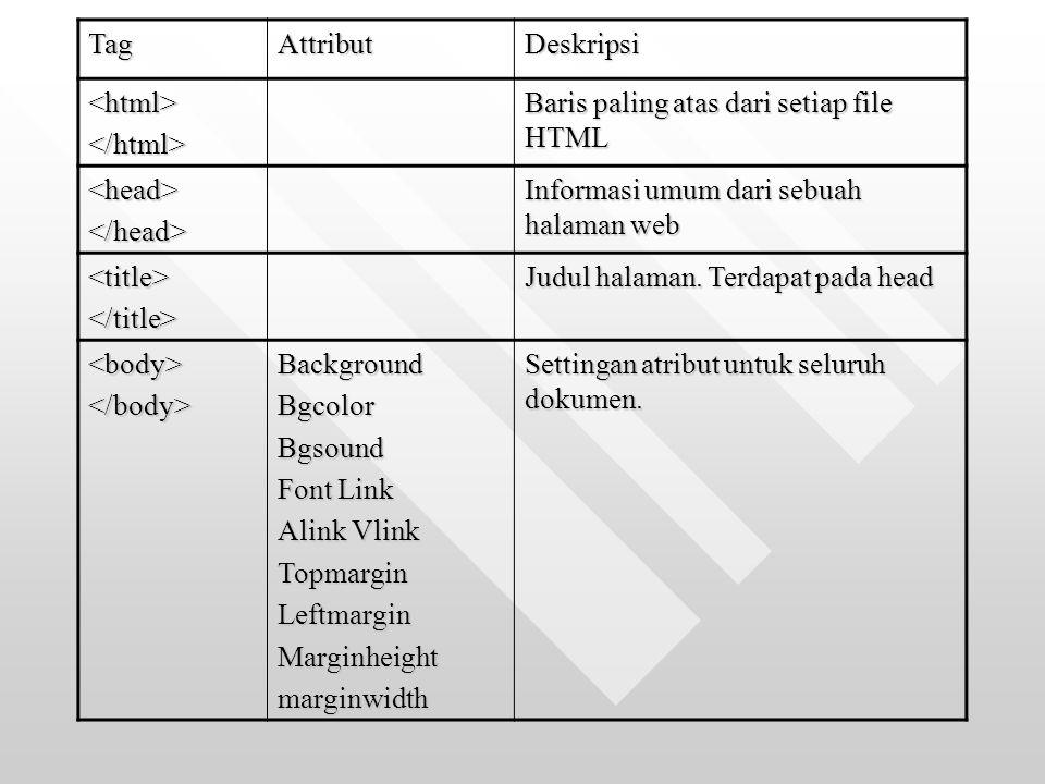 Tag Attribut. Deskripsi. <html> </html> Baris paling atas dari setiap file HTML. <head> </head>