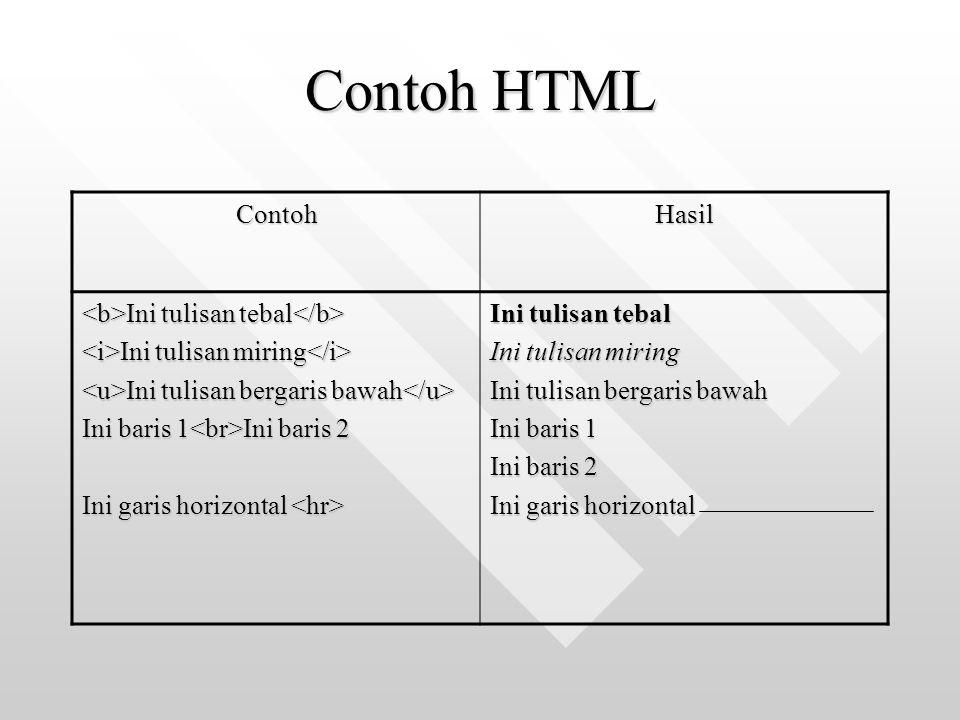 Contoh HTML Contoh Hasil <b>Ini tulisan tebal</b>
