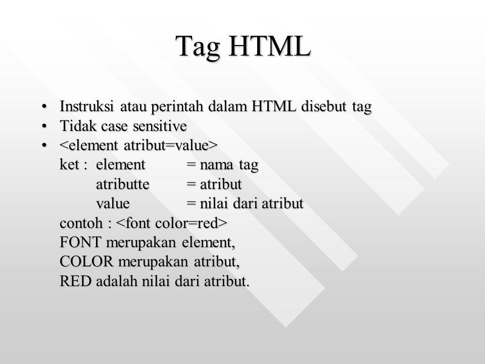Tag HTML Instruksi atau perintah dalam HTML disebut tag