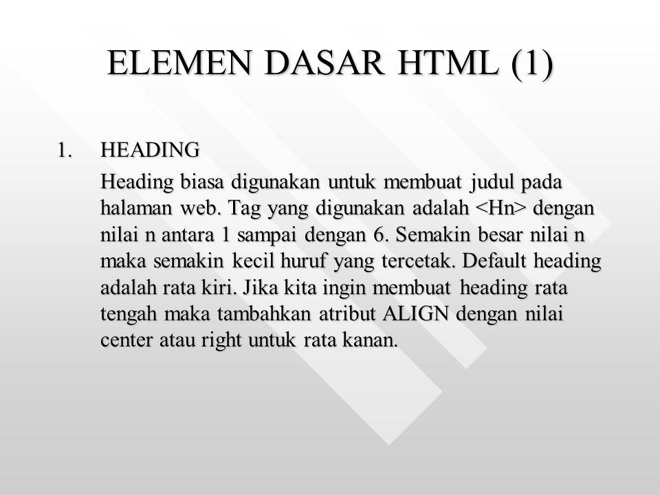 ELEMEN DASAR HTML (1) HEADING