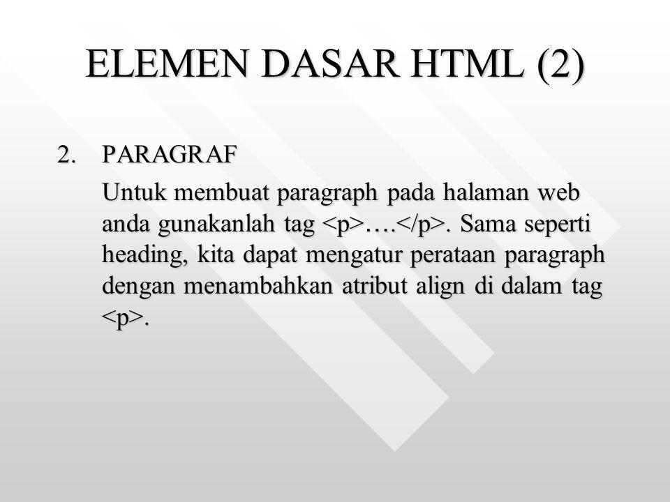 ELEMEN DASAR HTML (2) PARAGRAF