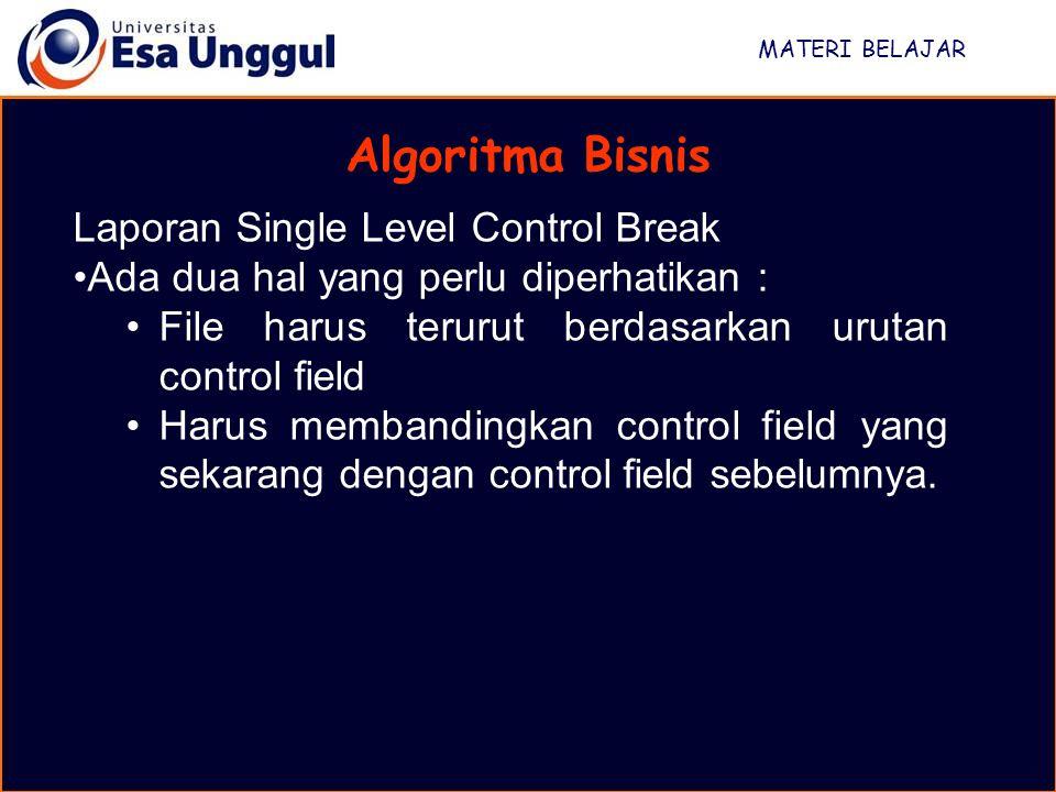 Algoritma Bisnis Laporan Single Level Control Break