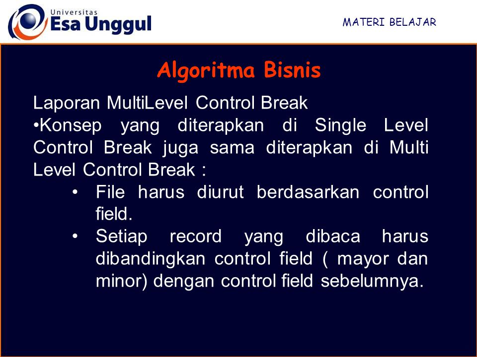 Algoritma Bisnis Laporan MultiLevel Control Break