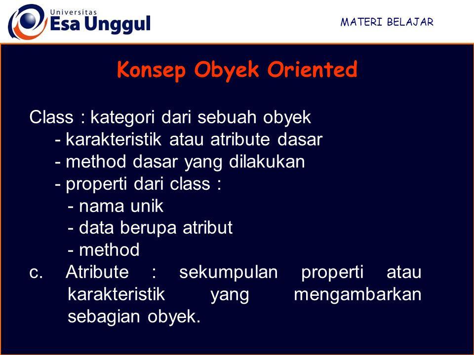 Konsep Obyek Oriented Class : kategori dari sebuah obyek
