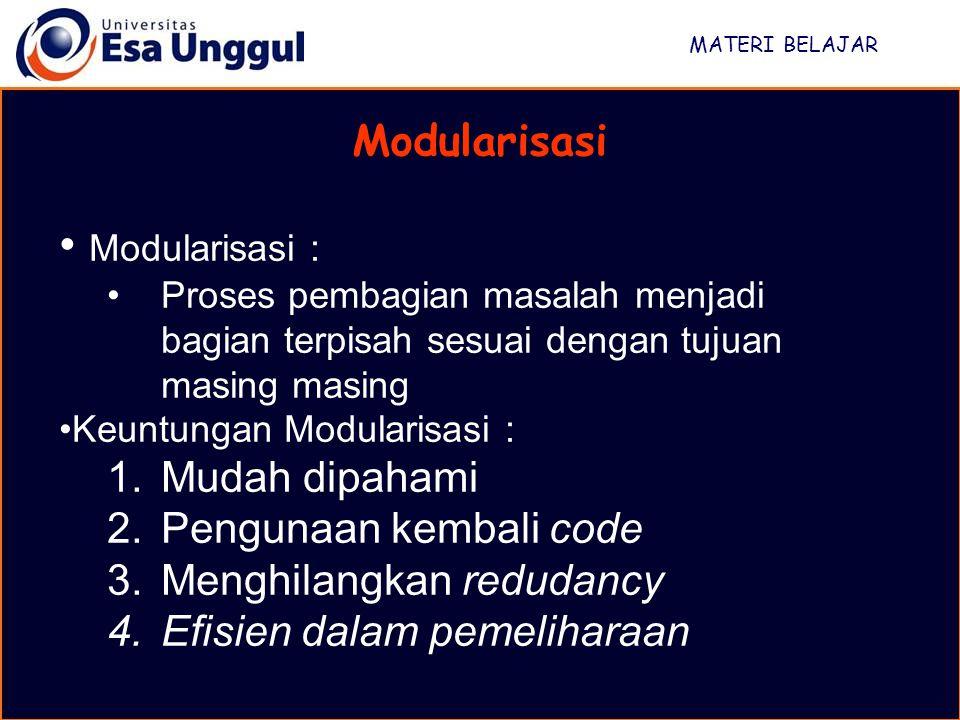 Modularisasi : Modularisasi Mudah dipahami Pengunaan kembali code